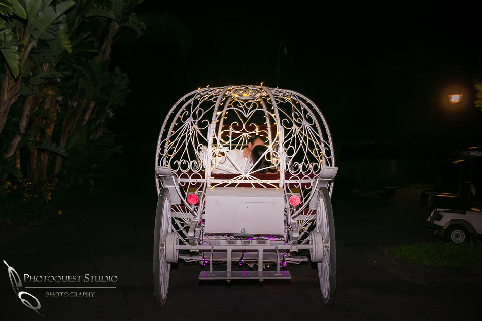 Bride & Groom on horse carriage in Fallbrook by Temecula Wedding Photographer