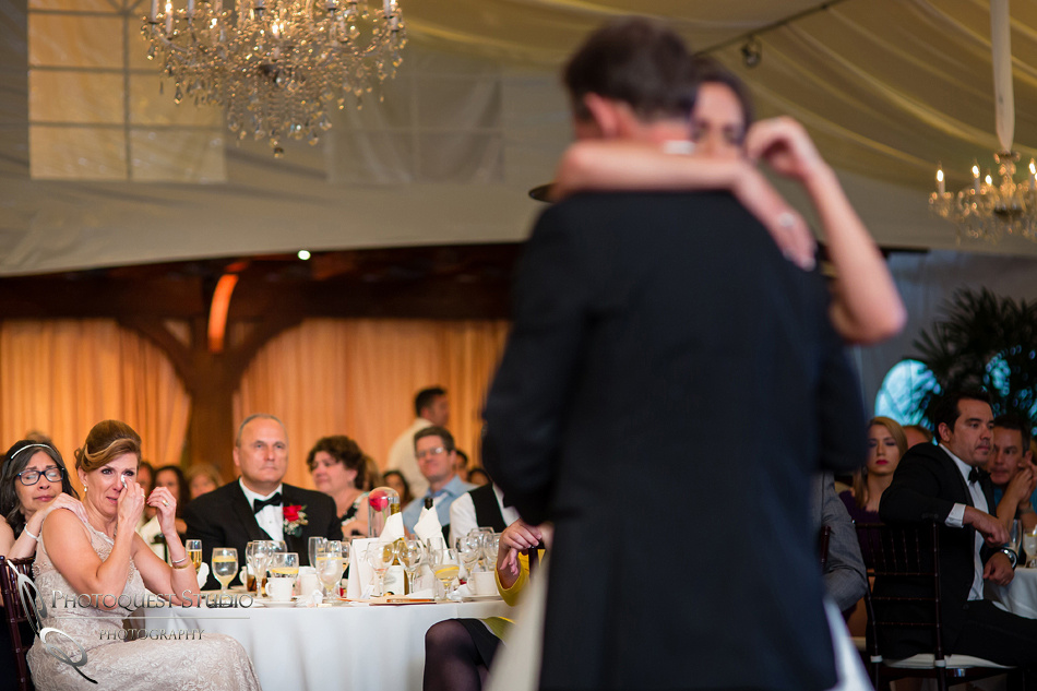 Mom crys during father and daughter dance at Grand Tradition Estate by Temecula Wedding Photographer