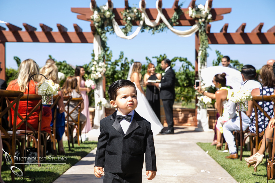 cute ring boy at Wedding in Temecula Winery, Wiens Family Cellars by Temecula Wedding Photographer