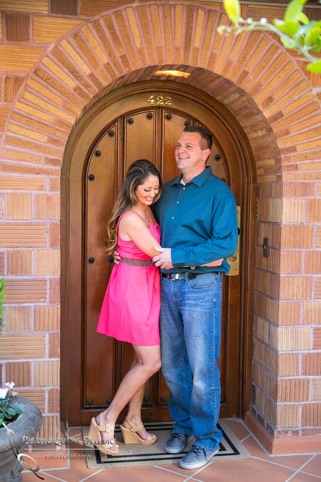 Fun Engagement Photo at Mission Inn