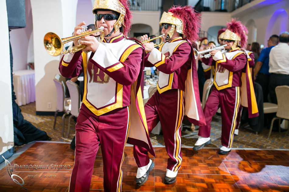 USC marching band at Mission Inn Hotel Wedding Photo by Riverside-Temecula Wedding Photographer