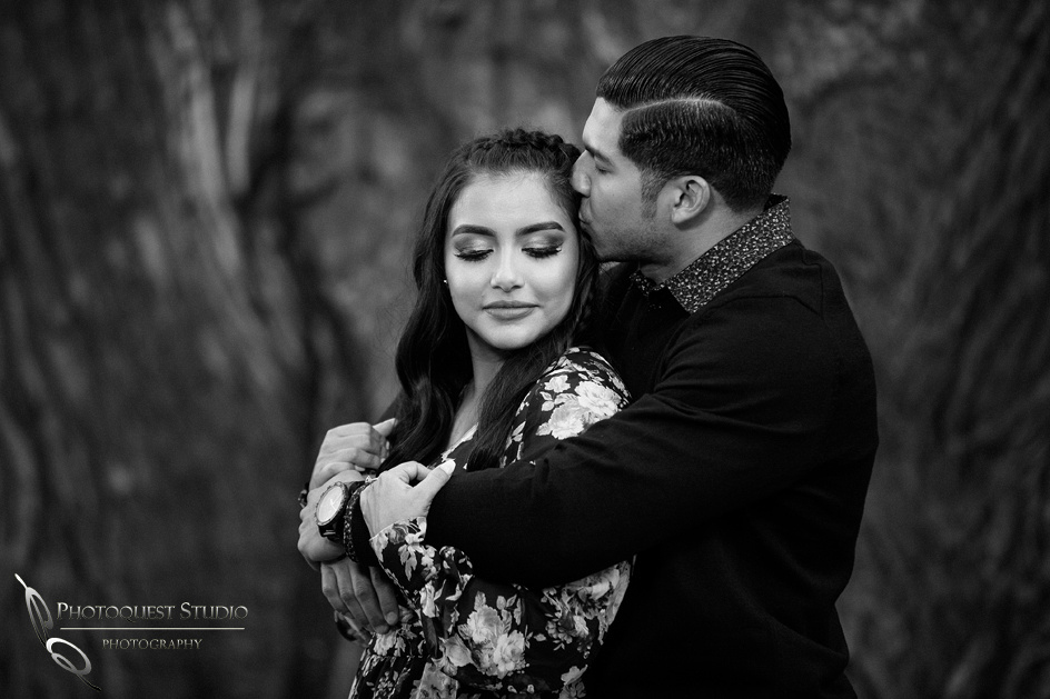 Black and white beauty engagement photo