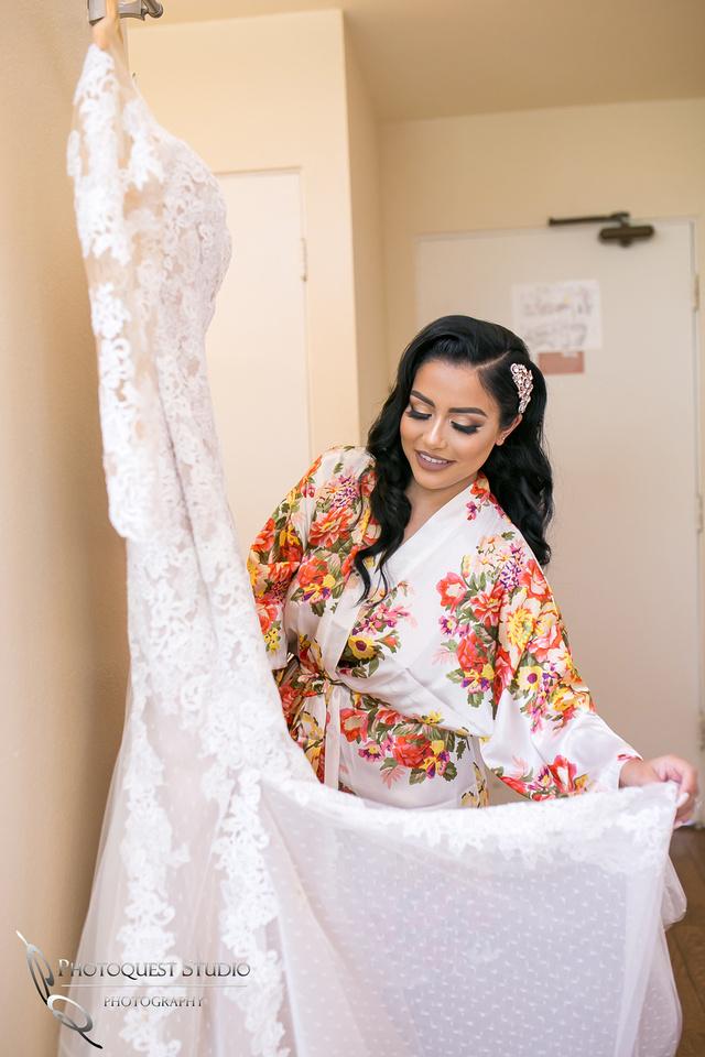 Bride and her wedding dress at Pala Mesa Resort, Fallbrook, San Diego, California.