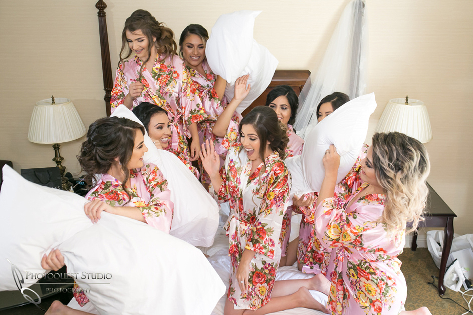 Temecula-Wedding-Photographer, pillows fight
