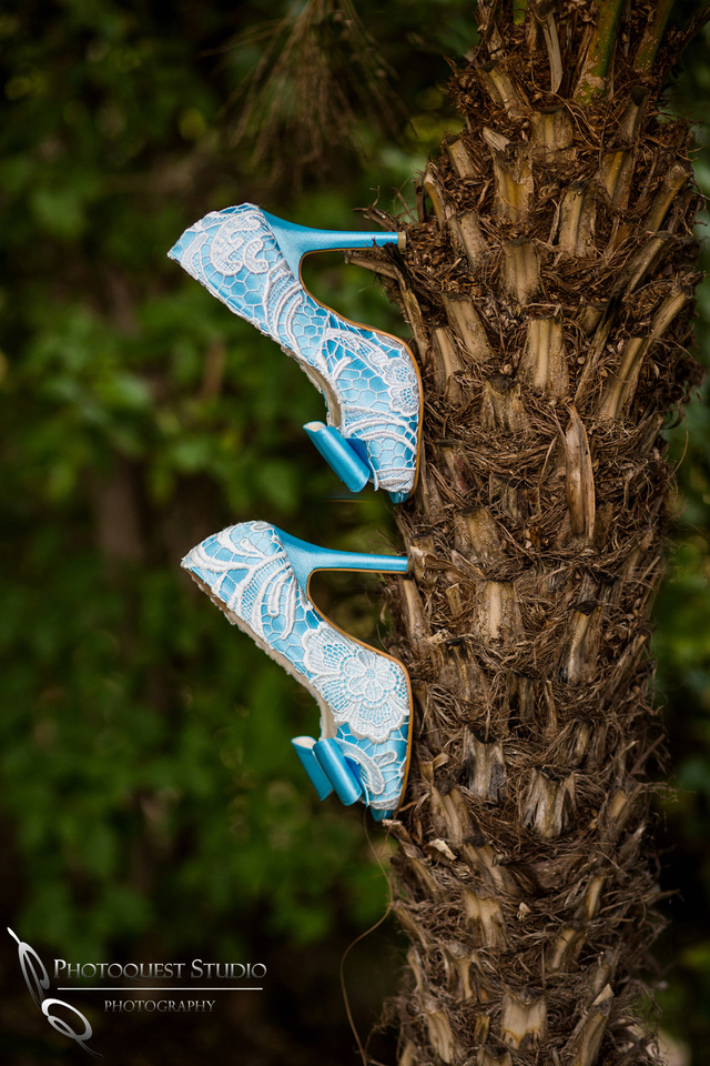 Blue wedding shoes. Wedding photos at Grand Tradition Estate Fallbrook by Wedding Photography in Temecula