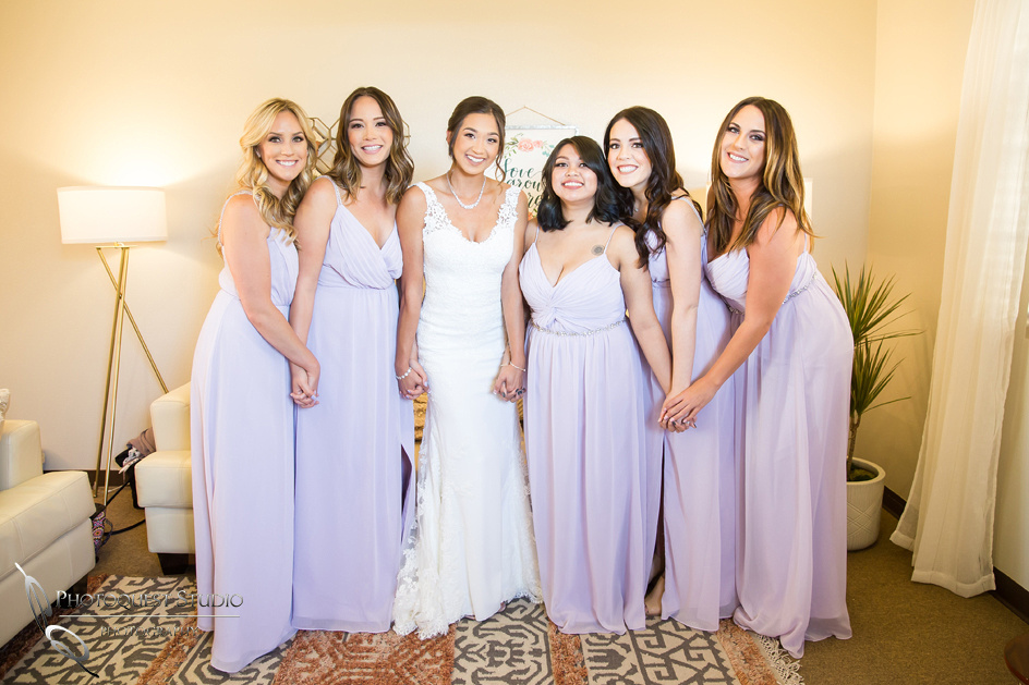 Bride and her bridal party ready for the wedding ceremony