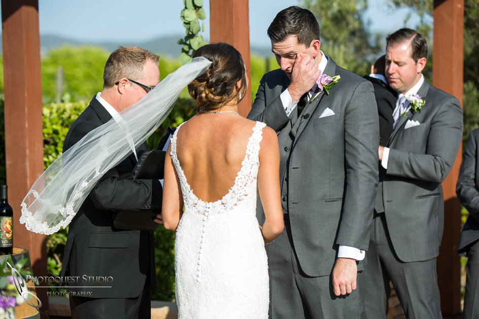 Alex cries during his wedding ceremony