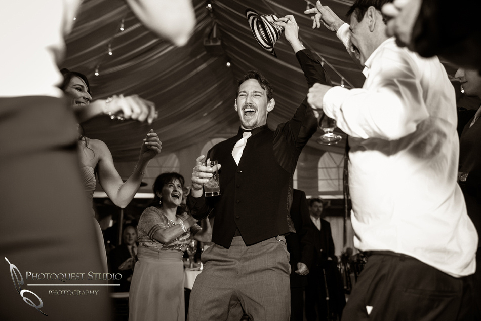 The Groom having a great time at his wedding