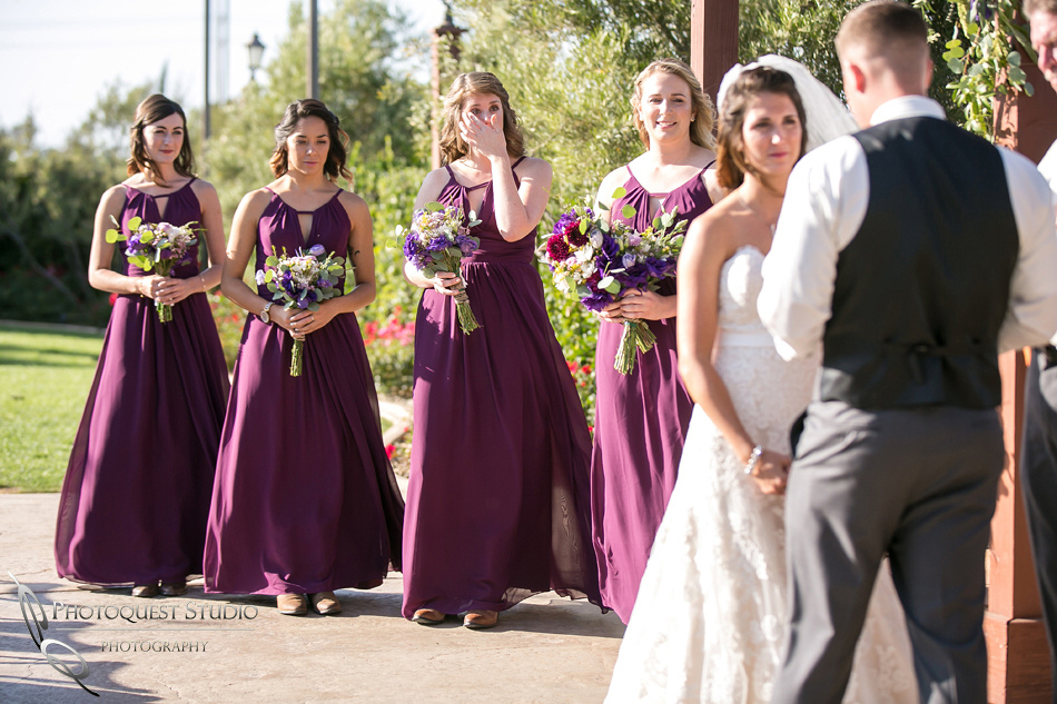bridesmaid cry during wedding ceremony