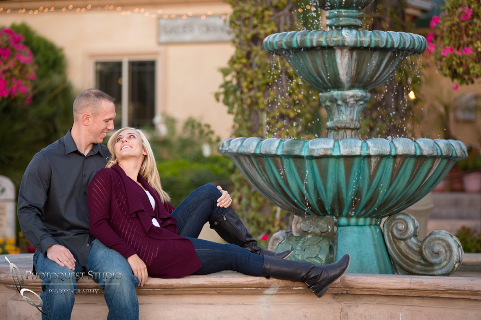The sunset and the fountain at Engagement photo at South Coast Winery, California by Temecula Wedding Photographers