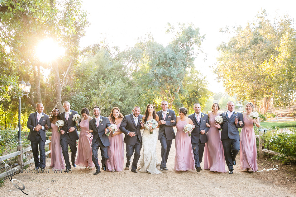 Wedding party at Lake Oak Meadows sunset, Temecula Winery Photographer