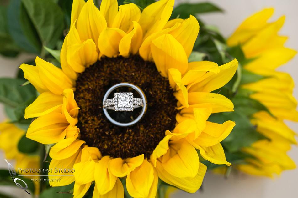 Diamond wedding ring and sun flowers by Temecula Wedding Photographer