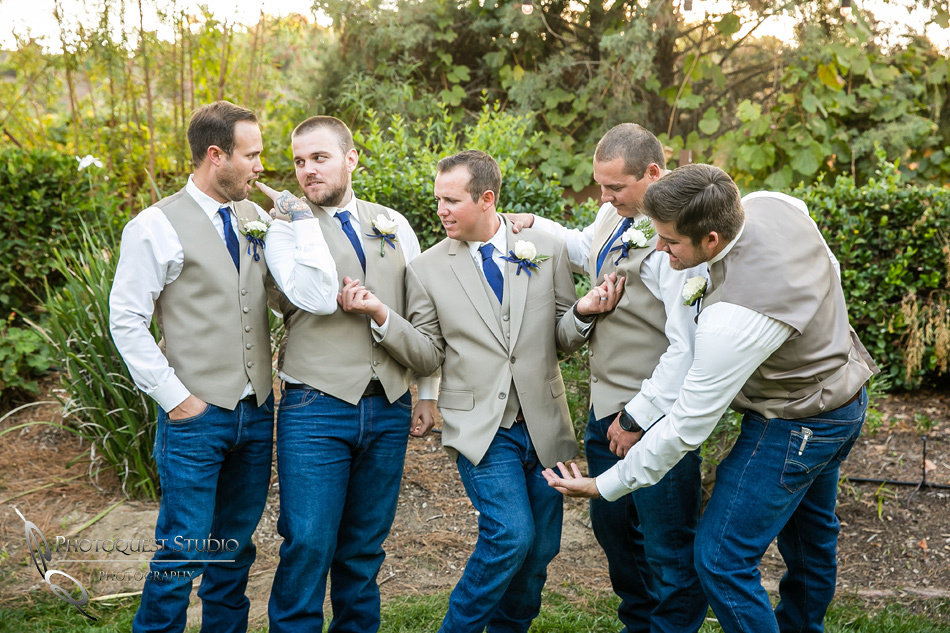 Groomsmen fun at Longshadow Ranch Winery by Temecula Wedding Photographer