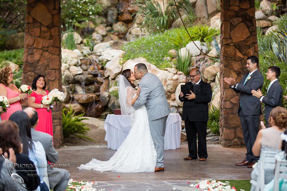 first kiss at pala mesa resort wedding