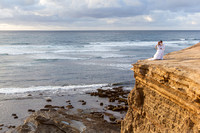 Thursday Club Wedding, Red Cliff, Point Loma, San Diego - Bride and Groom kissing by the cliff