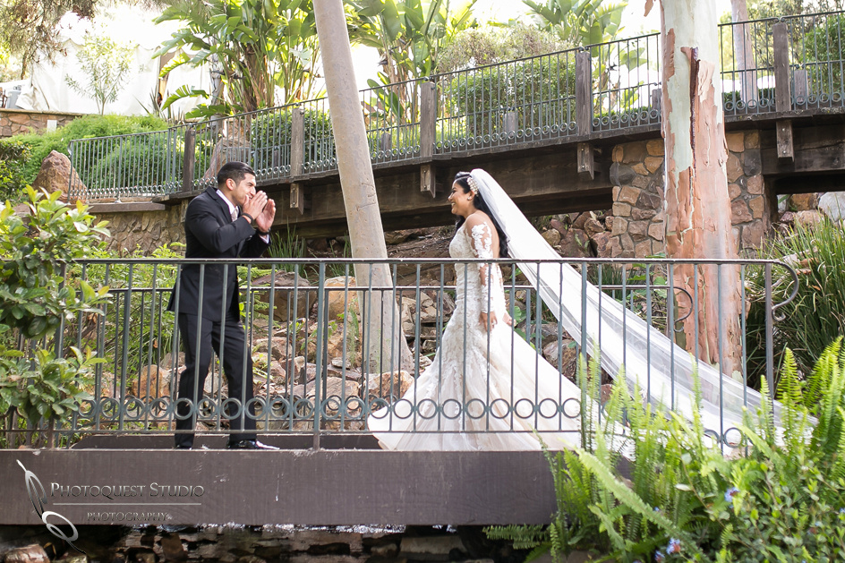 First look on the bridge at Pala Mesa Resort, Fallbrook wedding