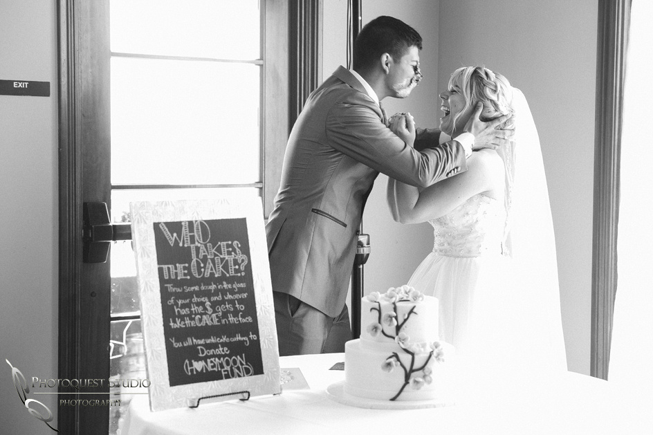 Kissing with cake in the face, Temecula, Fallbrook wedding photographer