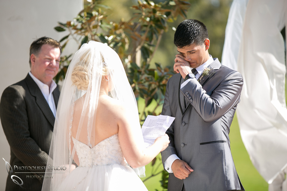 Groom cry, Temecula wedding photographer at Wedgewood San Clemente, Orange County
