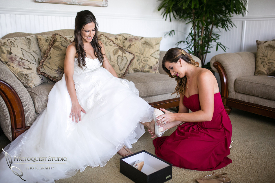Maid of honor put on Badgley Mishka Kiara shoes for the Bride