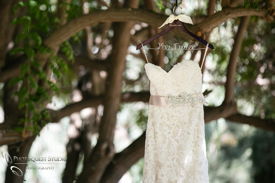 Wedding dress at Lake Oak Meadows, Temecula Winery by Photographer of Photoquest Studio