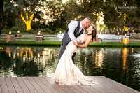 Kissing by the Dock, Wedding photo at Temecula Winery Lake Oak Meadows by photographer of Photoquest Studio
