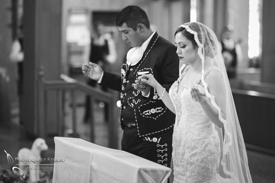 Riverside Wedding Photographer, documented Mexican Traditional Church Wedding, black & white