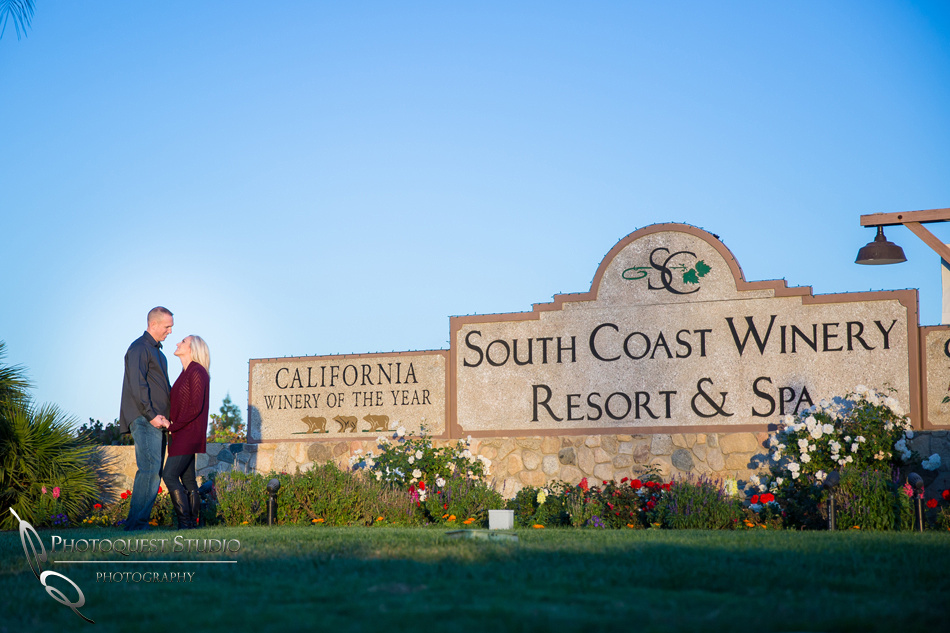 South Coast Winery Resort & Spa sign at Engagement photo at South Coast Winery, California by Temecula Wedding Photographers