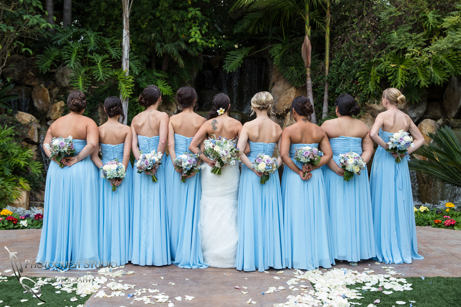beautiful blue bridesmaid dresses. Wedding photos at Grand Tradition Estate Fallbrook by Wedding Photographer in Temecula