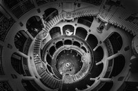 Mission-Inn-Hotel-Wedding-Photo-rotunda-spiral-staircase in black and white