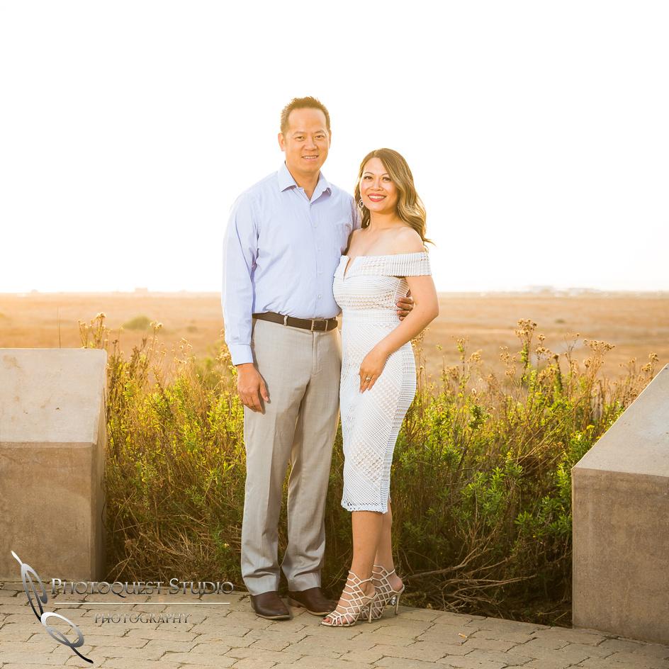Huntington Beach, beautiful couple at Sunset