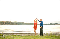 Dancing at sunset, Engagement-Photo-at-Frank-G-Bonelli-park