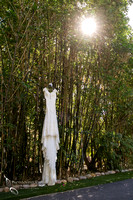 Wedding dress on bamboo trees