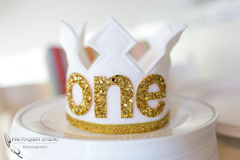 1st Birthday Hat - Gold crown