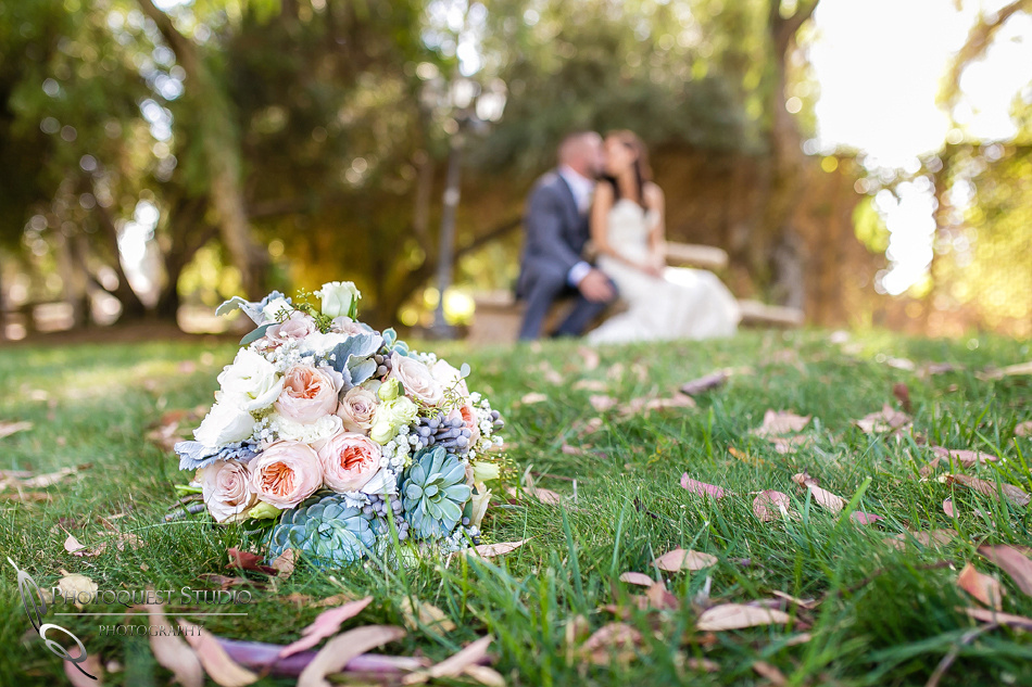 Wedding bouquet at Lake Oak Meadows, Temecula Winery by Photographer of Photoquest Studio