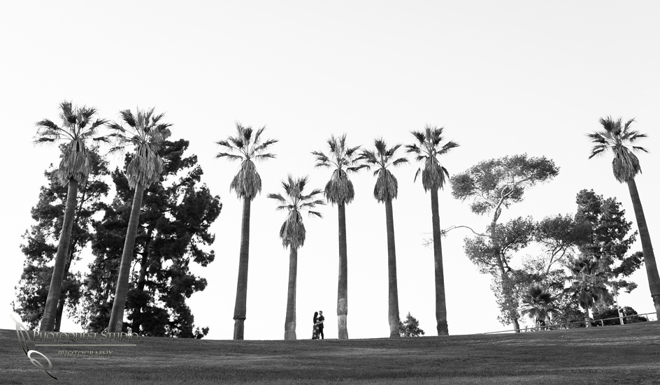black and white Engagement Photo at Hillcrest Park