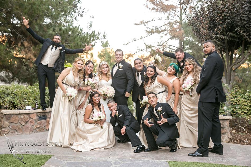 Wedding party having fun by Fallbrook, Temecula Wedding Photographer