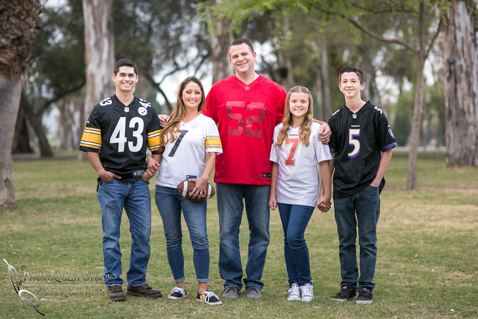 Fairmount Park, Engagement Photo with family in football outfits