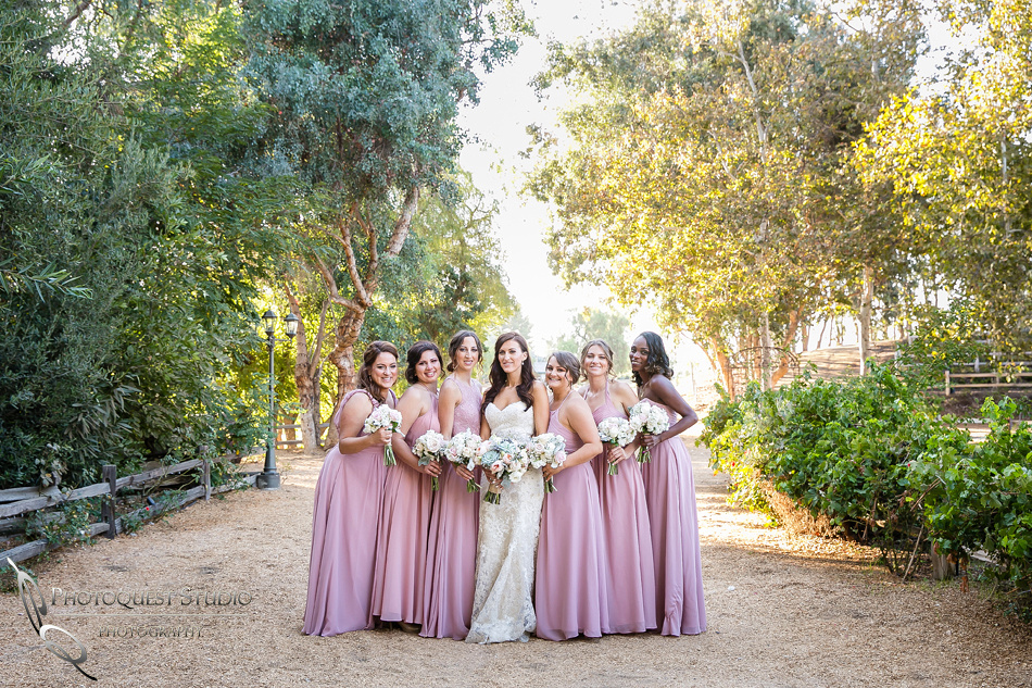 Bride and Bridesmaids at Lake Oak Meadows, Temecula Winery by Photographer of Photoquest Studio