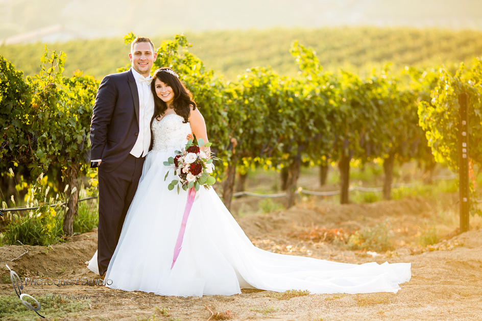 Sunset Wedding Photo at Leoness Cellars by Temecula Winery Photographer
