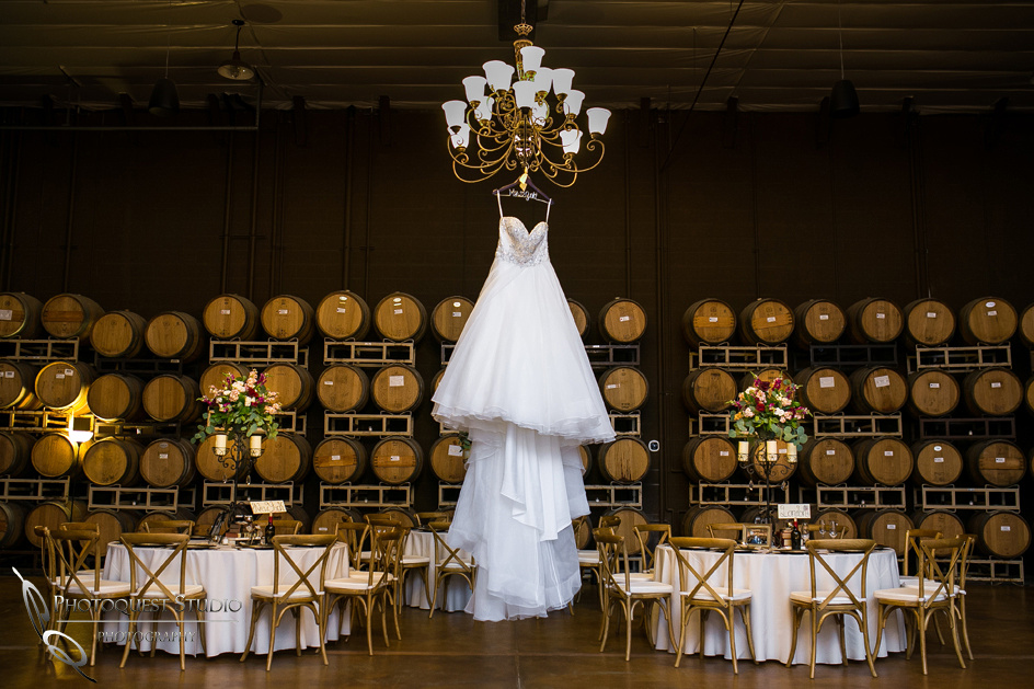 Wedding dress in Leoness Cellars barrel room