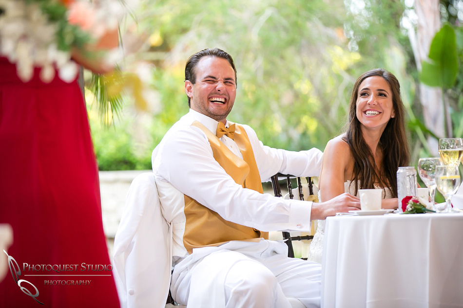 Bride and Groom reactions from MOH speech by Temecula Wedding Photographer
