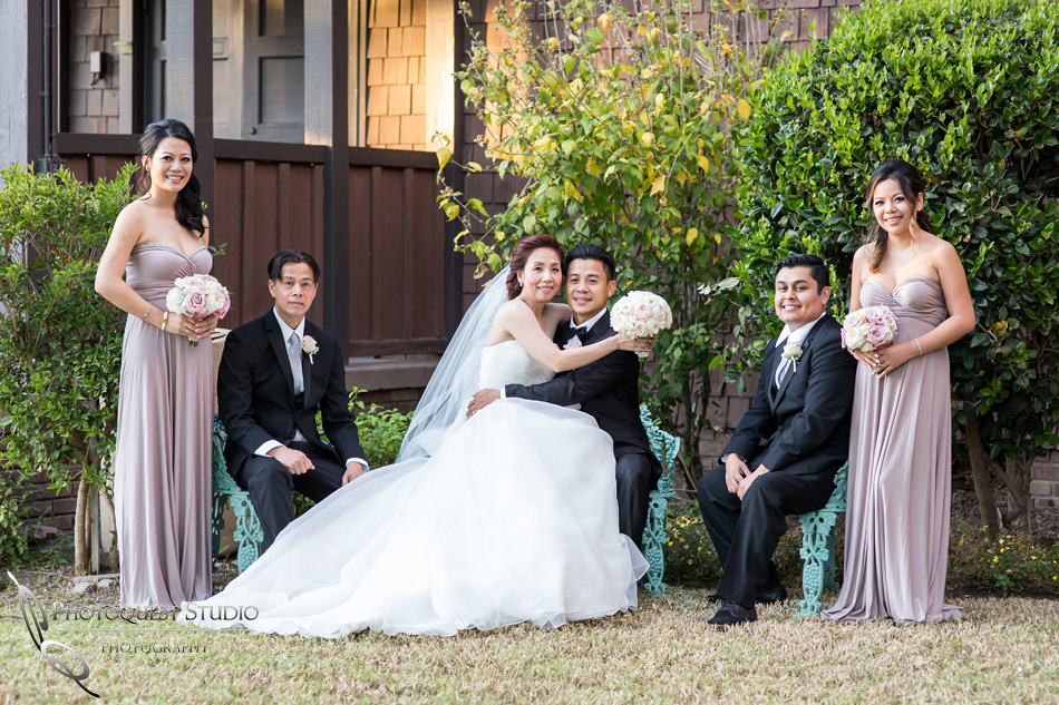 Bride and Groom and the Bridal party at Chapel of Orange